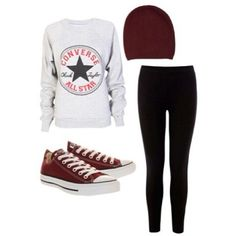 Leggings are the most casual and classic garments for every age. They are mainly casual but you can also mix and match for more feminine outfits. If you go to school, leggings is the best option (right after jeans) for… Continue Reading → Converse Outfits, Legging Outfits, Maroon Converse Outfit, Moda Converse, Adrette Outfits, Casual Outfits For Teens, Cute Outfits For School, Preppy Outfits, Summer Outfits