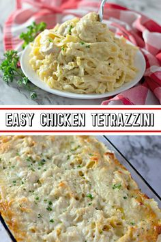 Easy Chicken Tetrazzini is the most delicious dinner! Serve this creamy chicken and pasta dish for dinner any time you need a quick and easy meal option. Dinner Dishes, Pasta Dishes, Food Dishes, Dinner Recipes, Main Dishes, Dinner Ideas, Dinner Salads, Chicken Tetrazzini Recipes, Chicken Pasta Recipes