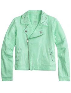 Size 6-7 in mint green. Knit Moto Jacket. For Sammy.