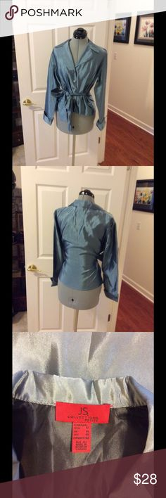 JS Collections glam top Blue satin with nice buttons and large tie for bow. Size 12 P and good condition JS Collections Tops Blouses