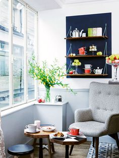 love the shelves, could display tea set like this