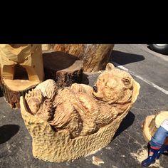 Super Awesome 4-foot long Sleeping Bear carving - Kirby's Custom Carvings, Big bear, Ca.  www.bigbearcarvings.com