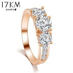 17 KM di Nuovo Modo caldo di Lusso di Alta qualità di Colore Dell'oro di Cristallo Dell'anello di Fidanzamento dei monili All'ingrosso per le donne 2016