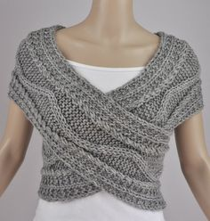 Hand knit vest, Cross Sweater, Capelet, Neck warmer in grey