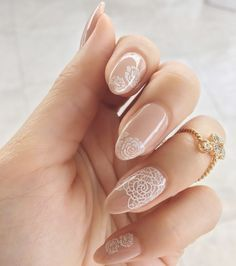 """Say """"I Do"""" to Bridal Nail Art - Nailstyle. Embrace Lace    Ideal for the boho bride, lace is the epitome of romance. Use a stamping plate to stamp a floral lace pattern on each nail, and add a glitter accent nail for a touch of glamour. Nail Art Stamping Plates, Nail Stamping, Lace Wedding Nails, Boho Wedding, Natural Color Nails, Glitter Accent Nails, Bridal Nail Art, Bride Nails, Nail Polish Trends"""