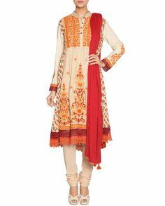 Cream Anarkali Suit with Embroidered Patterns Ritu Kumar, Anarkali Suits, Indian Wear, Salwar Kameez, Asian Fashion, Desi, Kimono Top, Elegant, Lady