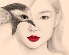 disegni-girl-birds OkArt artist