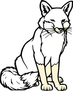 Sitting Fox Silhouette Clip Art | black and white fox clip art