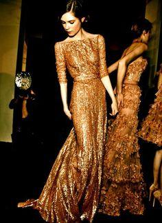 Gold Elie Saab gown.