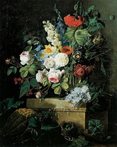 An Elaborate Still Life of Flowers, Netherlands, 1796, by Pierre-Joseph Redoute.