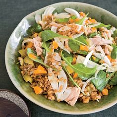 For this Mediterranean-inflected salad, chef Seamus Mullen likes poaching fresh tuna or bonito in olive oil; store-bought fish jarred in olive oil wor...