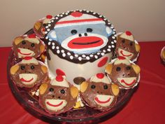 Sock monkey smash cake.