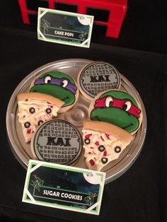 Awesome cookies at a Teenage Mutant Ninja Turtles Birthday Party!  See more party ideas at CatchMyParty.com!