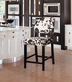 Linon Bs041cow01u Clayton Black Cow Print Bar Stool In