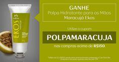 AQUI TEM CUPOM_POLPAMARACUJA  Ganhe Polpa Hidratante para mãos Maracujá Ekos, nas compras acima de R$ 150,00, utilizando o cupom POLPAMARACUJA.  Cupom válido de 12 a 18/04, apenas uma vez por CPF, não aplicável em presentes, Crer para Ver, promoções e linha Ucuuba. rede.natura.net/espaco/FABIOLARAQUEL