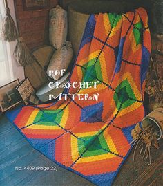 Crocheted Rainbows & Diamonds Afghan Pattern, Intermediate Skill Level…