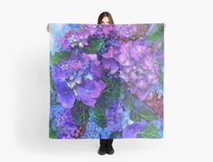 Wild Hydrangeas  designer scarf featuring the art of Carol  Cavalaris
