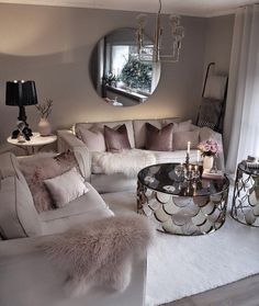 Cozy Living Room For Your Home - Living Room Design Glam Living Room, Living Room Decor Cozy, Living Room Goals, Living Room Lighting, Home And Living, Feminine Living Rooms, Modern Living, Cozy Room, Small Living Rooms