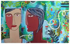Together 30x40cm  Acrylic and collage on Fine Art paper © 2013 Anshu Ahuja