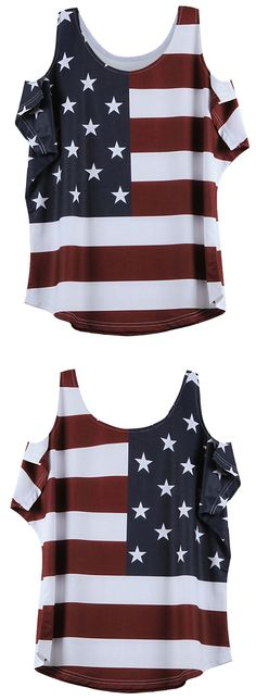 Distressed American Flag Pattern Cold Shoulder T-Shirt