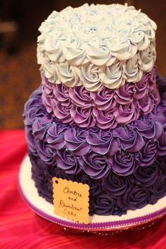 Yes, there ARE a lot of purple cakes on our board! Gorgeous Cakes, Pretty Cakes, Cute Cakes, Amazing Cakes, Ombre Cake, Bolo Glamour, Bolos Naked Cake, Purple Cakes, Rosette Cake