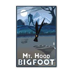 Mt. Hood, Oregon - Bigfoot - Lantern Press Artwork (Acrylic Wall Clock), Black