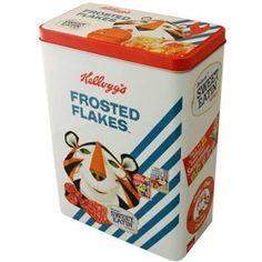 Kelloggs Vintage Cereal Tin - Frosted Flakes Retro Stripes Storage Tin: Amazon.co.uk: Kitchen & Home