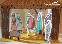 Christmas Nativity Cutout and make set, including baby Jesus, Mary, Joseph and the Three Kings cutou Terra Cotta, Pattern Baby, Party Kit, Christmas Nativity, Finger Puppets, Baby Jesus, Little Pigs, Print And Cut, My Images
