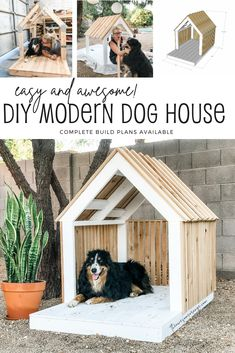 Make your fur baby the home of its dreams. Simple, but super sturdy construction to withstand the elements. Plus, it looks AWESOME! Step-by-step build plans available. #diy #pets #doghouse