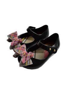 Vivienne Westwood girls mini melissa black bow shoes