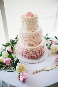 Ruffled Pink Lotus Flower Cake