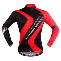 Men's Red Long Sleeve Cycling Jersey #Cycling #CyclingGear #CyclingJersey