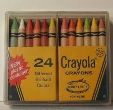 24 Crayola crayons in the plastic case.