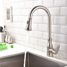 Fast Delivery  Brushed Nickel Single Handle Single Hole Kitchen Faucet Sink  Water Mixer Tap With Pull Down