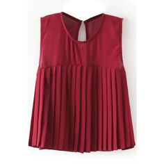 LUCLUC Burgundy Pleated Chiffon Sleeveless T-Shirt ($17) ❤ liked on Polyvore featuring tops, t-shirts, lucluc, red tee, pleated top, burgundy top, chiffon t shirt and red chiffon top