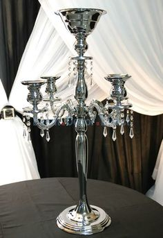 The Juliet II - 30 4-Arm Candelabra w/Flower Bowl in Chrome - Event Decor Direct - North America's