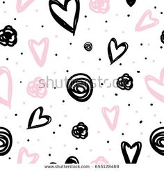 Valentine's day pattern with hand drawn heart. Cute Wallpaper Backgrounds, Cute Wallpapers, Junior Girls Clothing, Heart Hands Drawing, Black Aesthetic Wallpaper, Inspiration For Kids, Kids Prints, Nursery Prints, Cute Illustration