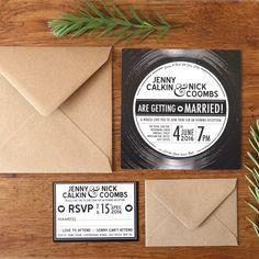 Retro, vintage black and white Vinyl record invitation by top Table Design.