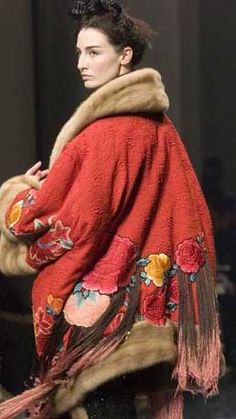 Jean Paul Gaultier --  amazing gypsy tribal ethnic mexican folk style design for a floral swing coat frida would have loved latin chic