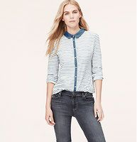 Petite Chambray Knit Button Down Shirt - We mixed chambray trim with a soft cotton knit for deceptively relaxed polish. Collared. Long sleeves. Button front. Patch pockets. Pleated detail at back yoke. Shirttail hem.