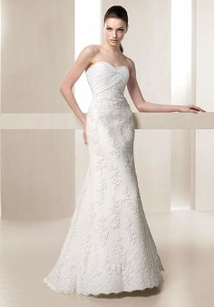 Trumpet Adorable Sweetheart Neckline Empire Lace Satin Wedding Gowns