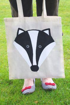 Mr Badger Tote Bag  Hand Painted Long Handled by DizzyMissJames, £12.00