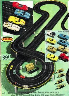 Aurora slot cars - one of my all time favorite toys from my youth Ho Slot Cars, Slot Car Racing, Slot Car Tracks, Auto Racing, Race Tracks, My Childhood Memories, Childhood Toys, Vintage Advertisements, Vintage Ads