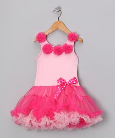 Take a look at this Light & Hot Pink Rosette Ruffle Dress - Toddler & Girls on zulily today!