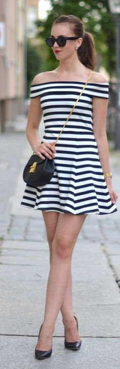 Black And White Stripe Off The Shoulder Little Dress by Vogue Haus