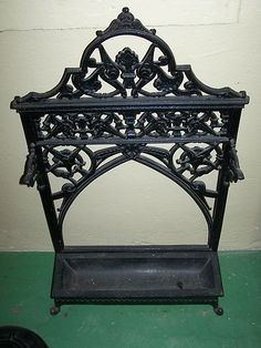 Antique victorian cast iron umbrella stand holder original black extremely rare