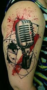 What does trash polka tattoo mean? We have trash polka tattoo ideas, designs, symbolism and we explain the meaning behind the tattoo. Red Tattoos, Body Art Tattoos, Cool Tattoos, Music Tattoo Designs, Music Tattoos, Arte Trash Polka, Tattoo Musica, Tatuagem Trash Polka, Tattoo Trash