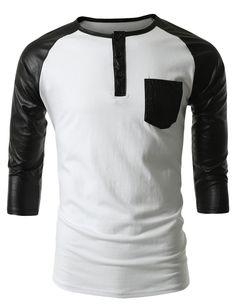 SMITHJAY Mens Hipster Hip-Hop Knit Baseball Shirt with 3/4 PU Sleeve #smithjay