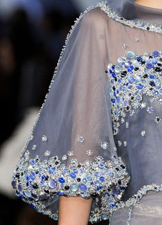 Chanel Haute Couture Spring/Summer 2012: Sheer Blue Sleeves and Sparkly Sequins