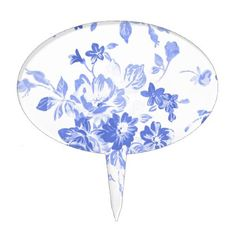 Victorian blue floral pattern napkin blue watercolor flower pattern cake topper negle Choice Image